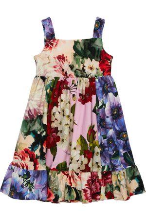 Dolce & Gabbana | Niña Vestido De Algodón Interlock Con Estampado Floral 4a
