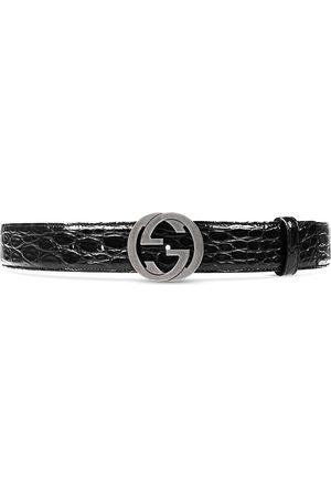 Gucci Hombre Cinturones - Cinturón de cocodrilo con hebilla de G entrelazada