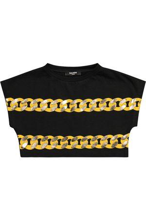 Balmain Camiseta cropped de algodón