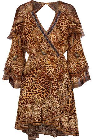Camilla Vestido corto de seda con adornos