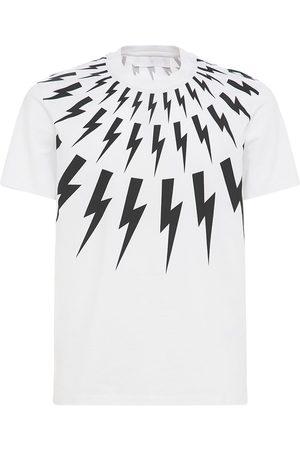 Neil Barrett   Hombre Camiseta De Jersey Con Estampado De Rayos /negro S