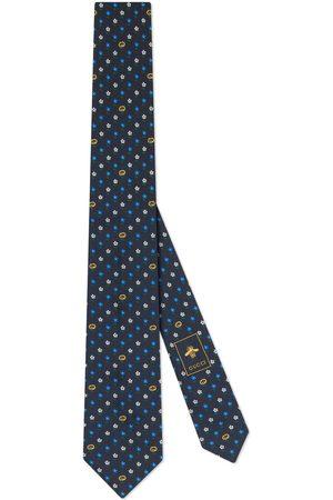 Gucci Corbata de seda con GG y flores