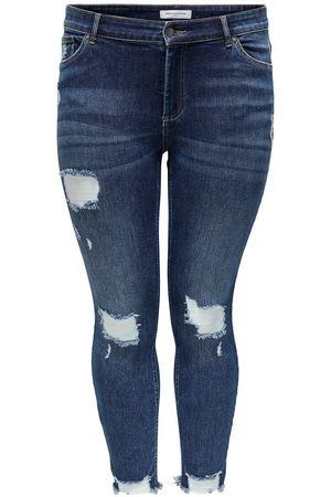 ONLY Mujer Cintura alta - CURVY CARWILLY REG ANKLE DESTROY ANKLE JEANS SKINNY FIT