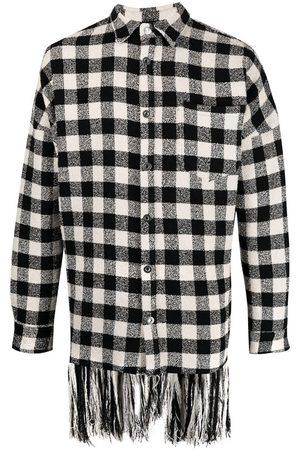 Palm Angels Fringed check shirt jacket