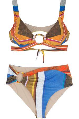 AMIR SLAMA Bikini Eco con motivo de rayas