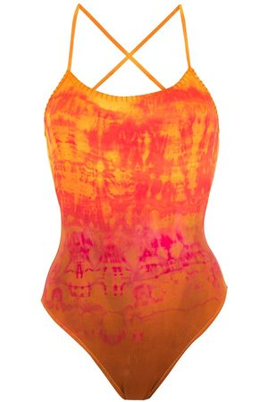 AMIR SLAMA Bañador bordado con motivo tie-dye
