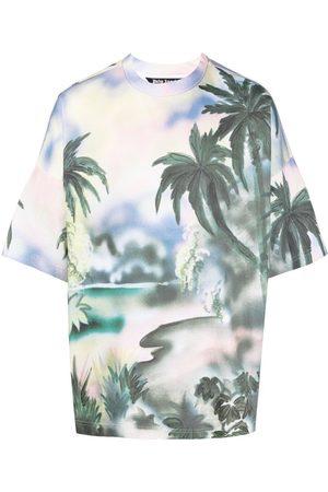 Palm Angels Camiseta con motivo de palmeras y logo