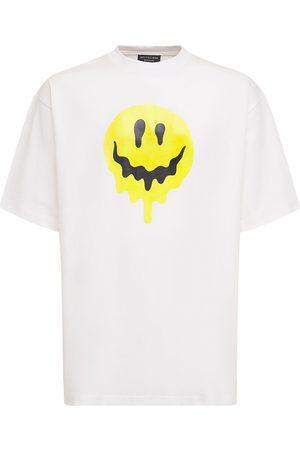 Balenciaga   Hombre Camiseta De Algodón Con Estampado Smile Xs