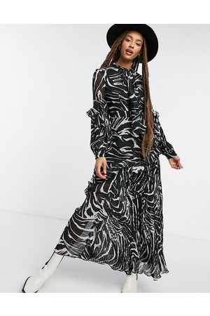 Topshop Vestido midi con estampado de cebra plisado de -Negro
