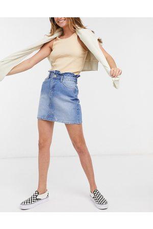 Miss Selfridge Minifalda vaquera color azul medio lavado de talle alto de