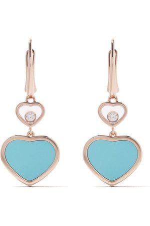 Chopard Pendientes Happy Hearts en oro rosa de 18kt, diamantes y turquesa
