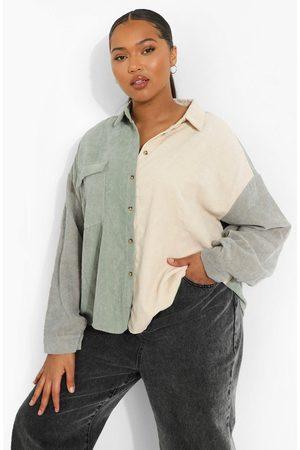 Boohoo Camisa Ancha De Pana Con Bloques De Color Plus, Salvia