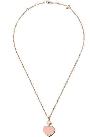 Chopard Collar Happy Hearts con diamante y piedra rosa en oro rosa 18kt