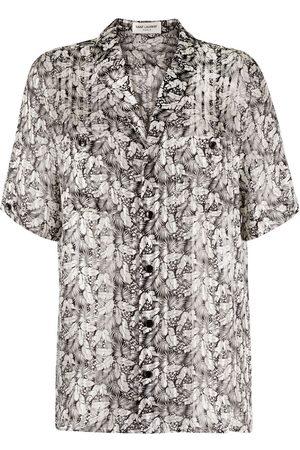 Saint Laurent Mujer Pantalones cortos - Leaf pattern short sleeve shirt