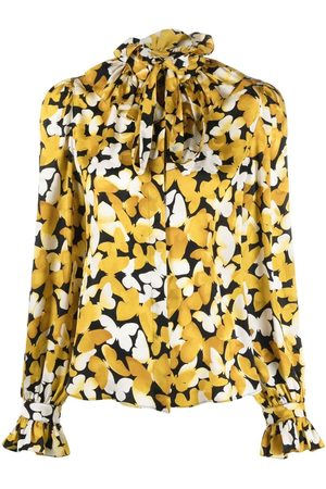 Saint Laurent Camisa con estampado de mariposas