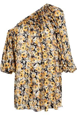 Saint Laurent Vestido asimétrico con motivo floral