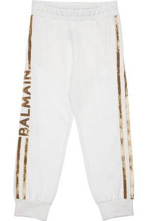 Balmain   Niña Pantalones De Algodón Con Lentejuelas 8a