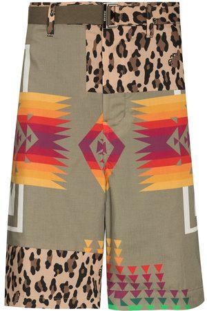 Sacai Patchwork knee-length shorts