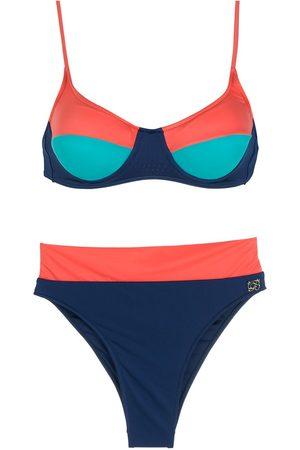 Brigitte Conjunto de bikini tricolor con cintura alta