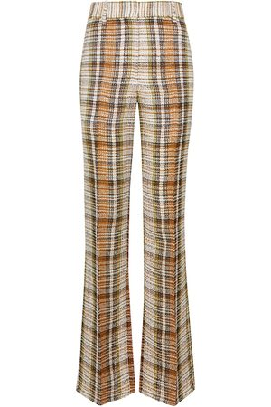 Victoria Beckham Checked linen flared pants