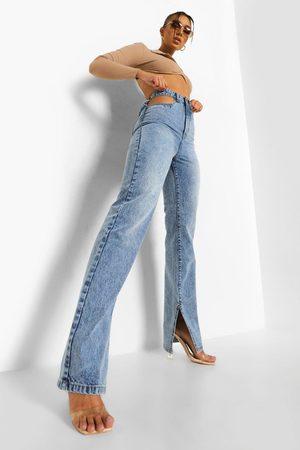 Boohoo Mujer Cintura alta - Cut Out Split Leg Jean
