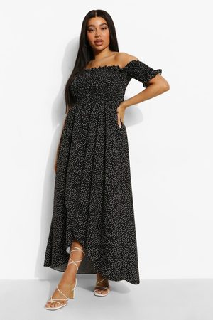 Boohoo Mujer Casual - Plus Polka Dot Off Shoulder Maxi Dress
