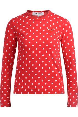 Comme des Garçons Camiseta manga larga Camiseta roja de lunares blancos para mujer