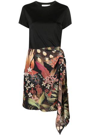 Lanvin Falda con estampado floral y lazo lateral