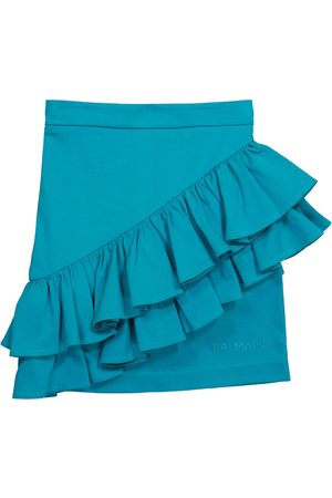 Balmain Minifalda de algodón con volantes