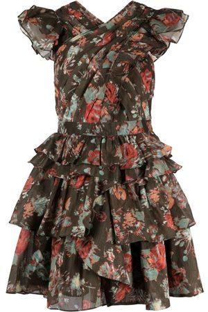 ULLA JOHNSON Vestido con pliegues y motivo floral