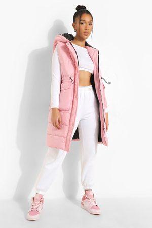 Boohoo Mujer De Invierno - Longline Pocket Detail Gilet, Pink