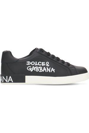 Dolce & Gabbana | Niña Sneakers De Piel Con Logo Y Cordones 34