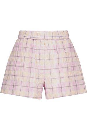Ganni Shorts de sirsaca de cuadros