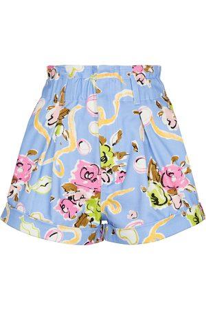 Alessandra Rich Shorts de algodón de tiro alto