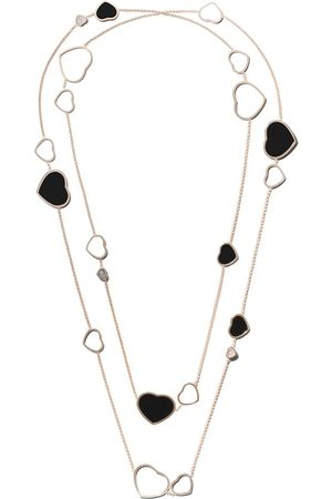 Chopard Mujer Collares - Collar Happy Hearts con ónix y diamantes en oro rosa 18kt
