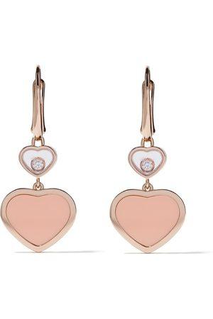 Chopard Pendientes Happy Hearts con colgante con diamantes en oro rosa de 18kt