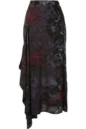 Yohji Yamamoto Falda drapeada con estampado abstracto