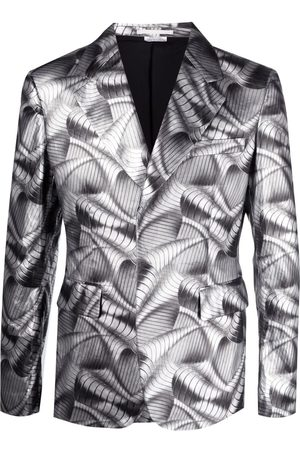 Comme Des Garçons Homme Plus Blazer metalizado con estampado ondulado