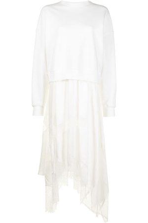 GOEN.J Mujer Sudaderas - Vestido de encaje con capas de sudadera