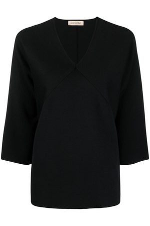 GENTRYPORTOFINO Panelled V-neck silk top