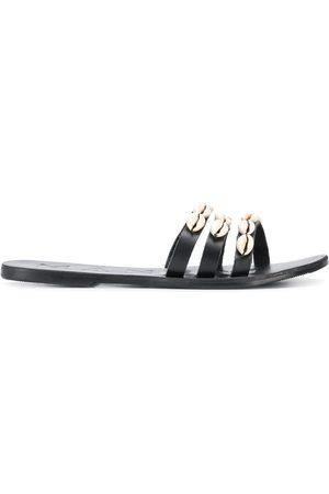 MANEBI Mujer Sandalias - Sandalias planas con ribetes de conchas