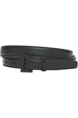 Saint Laurent   Mujer Cinturón Fino De Piel Con Logo 2cm 70