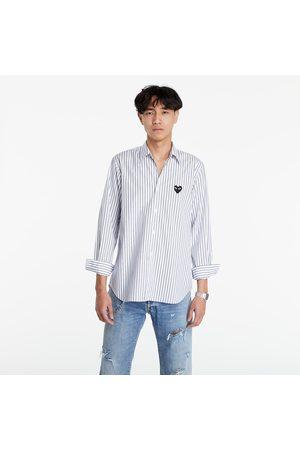 Comme des Garçons Hombre Manga larga - Black Heart Striped Shirt Light Blue/White/Black