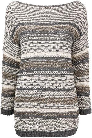 GENTRYPORTOFINO Mujer Jerséis y suéteres - Striped knit boat neck jumper