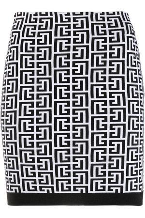 Balmain Falda de cintura alta con monograma