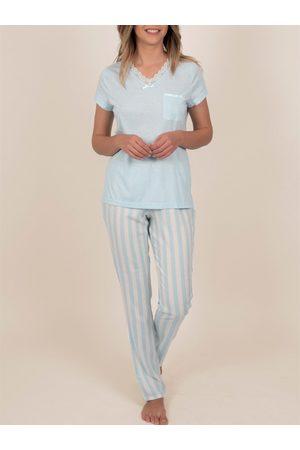 Admas Ropa interior pantalones de pijama camiseta Classic Stripes para mujer