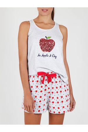 Admas Pantalones cortos de pijama sin mangas Una manzana al día para mujer