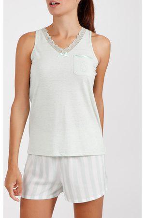 Admas Camiseta de pijama corta Classic Stripes para mujer