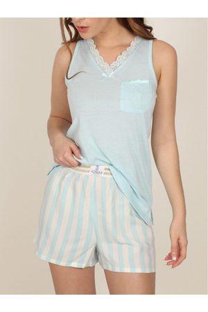 Admas Pantalones cortos de pijama sin mangas Classic Stripes para mujer