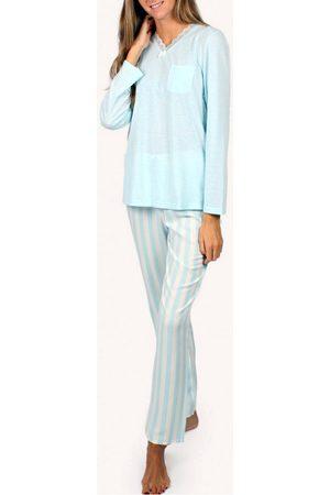 Admas Ropa interior de pijama y pantalones largos Classic Stripes para mujer